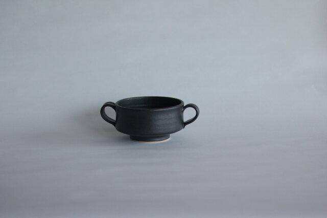 両取っ手付きスープカップ 黒 の画像1枚目