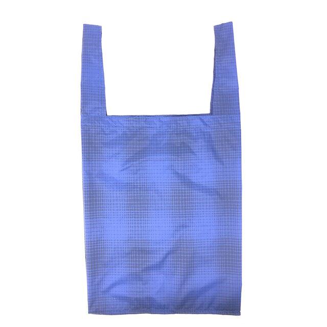 エコバッグ レジ袋 サイズB マチあり グラデーション・ドット柄 ブルー[meb-203B]の画像1枚目