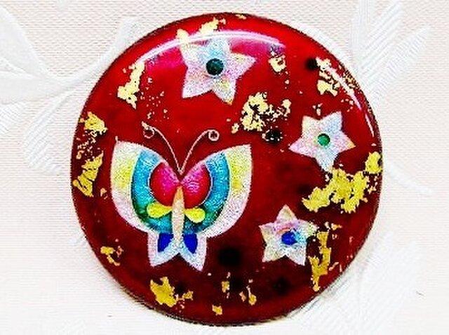 ローズ色の蝶花文様(七宝ブローチ)・IB-96の画像1枚目