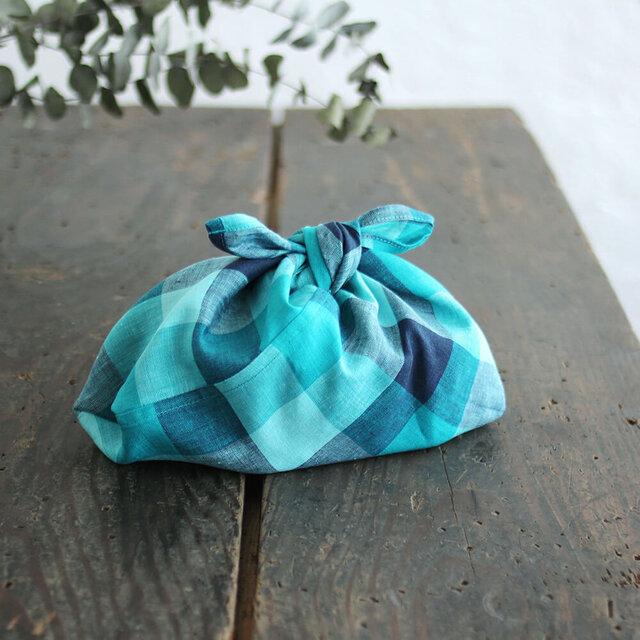 alinのあづま袋 S お弁当包み リネンあずま袋 マチ付き (ブロックチェック/ターコイズ)の画像1枚目