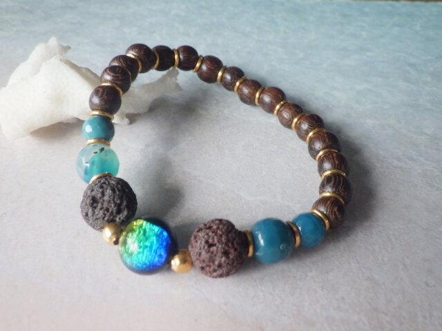 ☆再販☆ケラマブルー* Lava Stone Diffuser Bracelet☆アロマブレスレットの画像1枚目