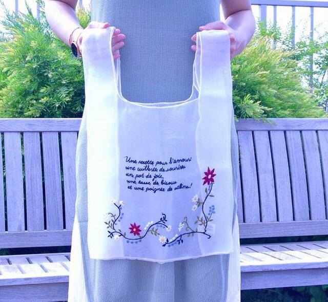 受注生産●オーガンジー 刺繍 マルシェバッグ フランス語 ロゴ 花柄●エコバッグ型 シースルー メッシュ素材の画像1枚目