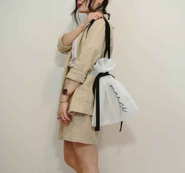 ●オフホワイト●シアー2WAY巾着バッグ ショルダーバッグ 手刺繍●シースルー オーガンジー メッシュの画像1枚目