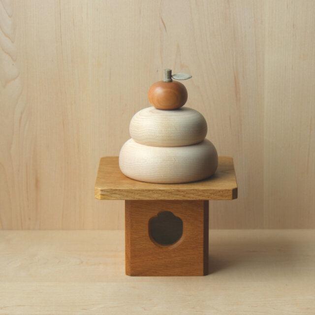 木製鏡餅 大サイズ  三方付の画像1枚目