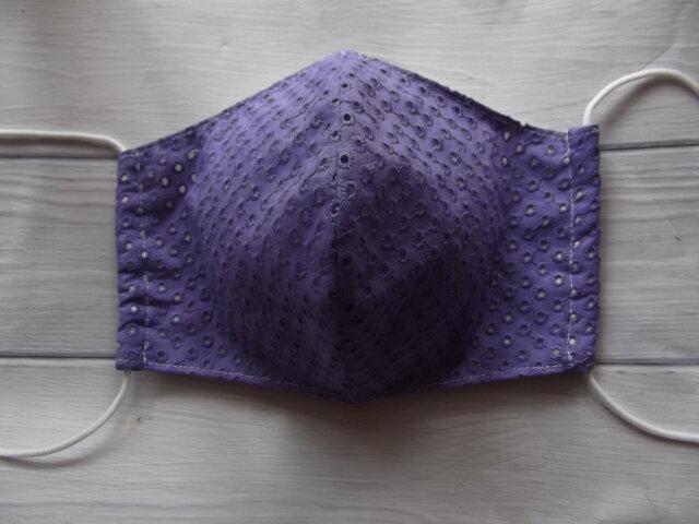 紫の綿レースの立体マスクの画像1枚目
