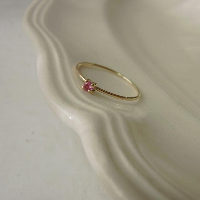 Pink sapphire ring/K18YGの画像1枚目
