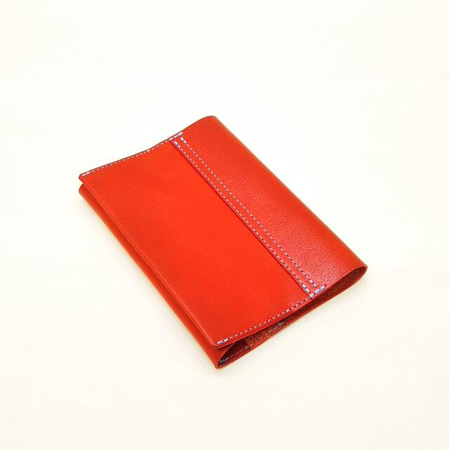 【栃木レザー】文庫サイズのブックカバー(赤)カラーオーダー可*受注製作*の画像1枚目