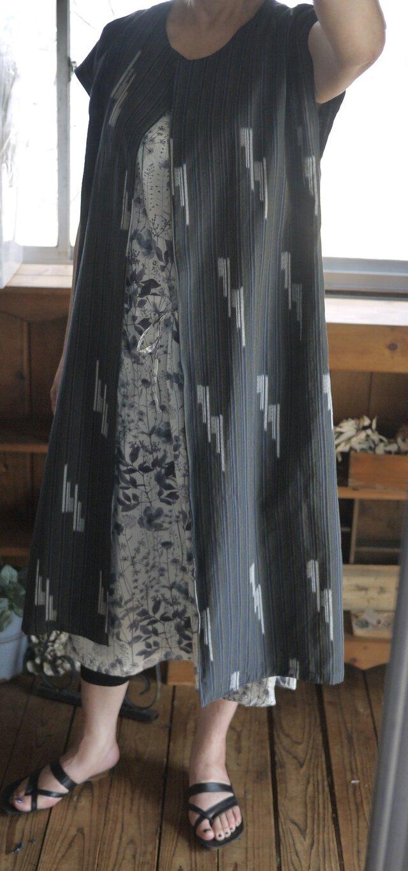 久留米絣反物からロングベストの画像1枚目
