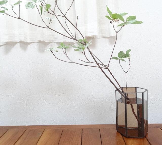 ステンドグラスフラワーベース「Bloom」Sサイズ (ブラウン)の画像1枚目