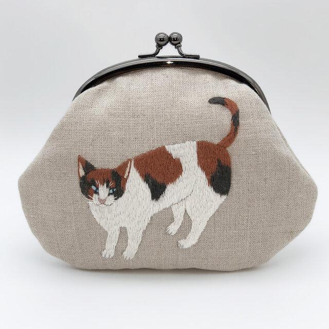 三毛猫の刺繍がまぐちの画像1枚目