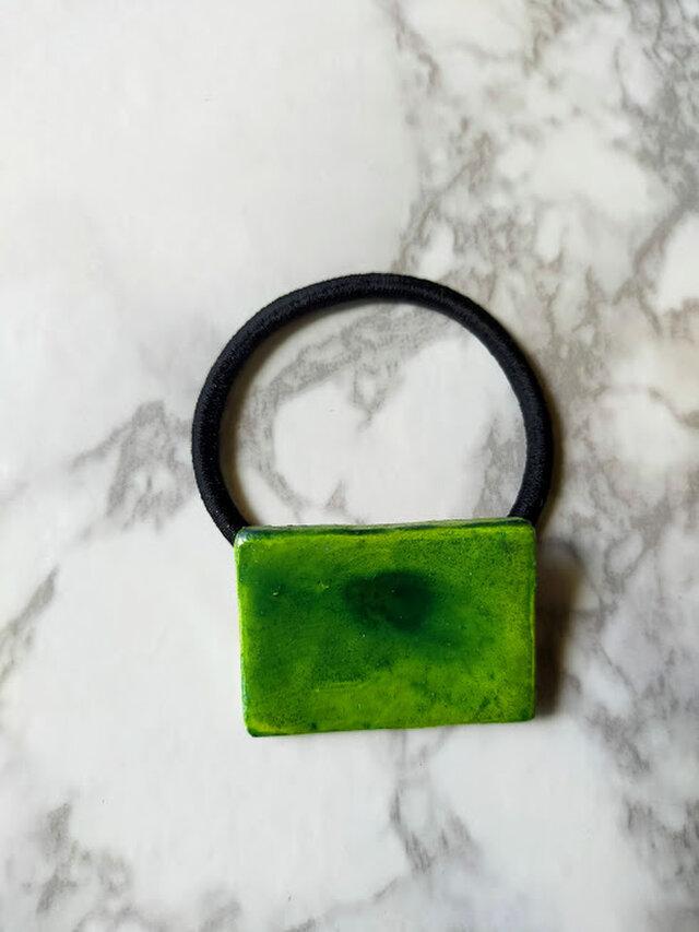 陶土ヘアゴム(黄緑色)四角形の画像1枚目