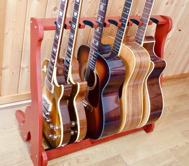 手作り木工 ギタースタンド (赤漆) 9本掛けの画像1枚目