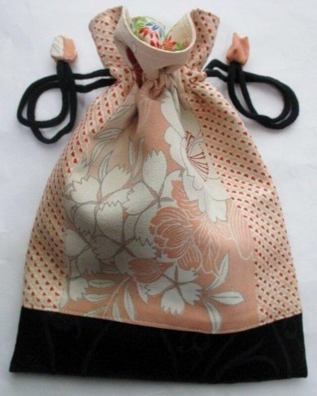 5058 花柄と絞りの着物で作った巾着袋 #送料無料の画像1枚目