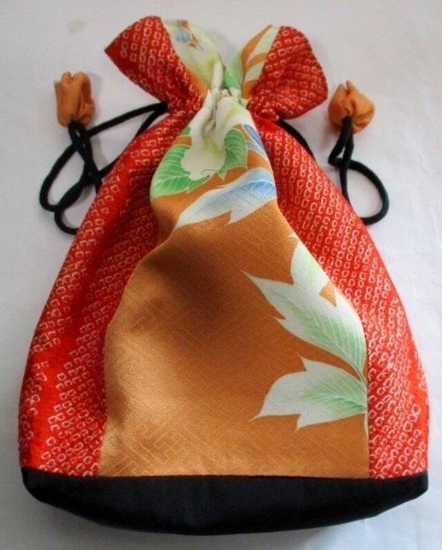 5059 絞りと花柄の着物で作った巾着袋 #送料無料の画像1枚目
