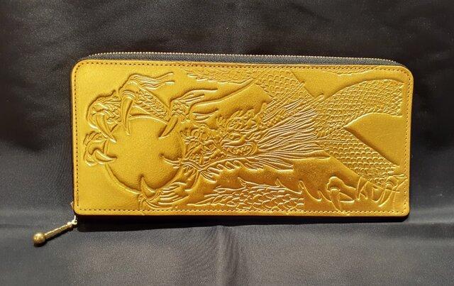 金運開運・お守り・純金箔革製・薄型ラウンド財布ゴールド(金龍)素地の画像1枚目