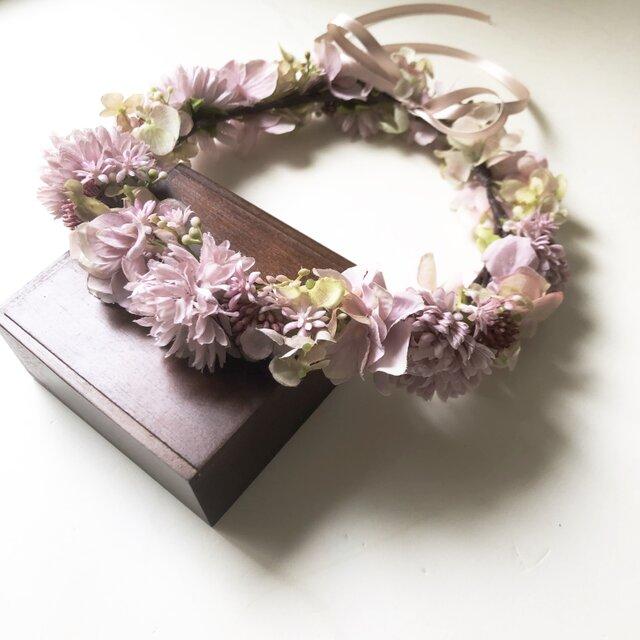 モーヴピンク*マムと紫陽花の花冠の画像1枚目