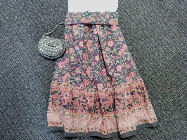 ★なでしこ★ブロックプリント花柄★インド綿100%★切り替えギャザースカート★の画像1枚目