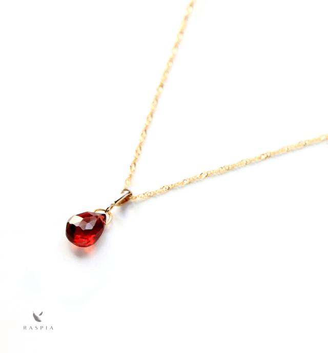 1月誕生石K10赤紅色アルマンディンガーネット(平ドロップ)ネックレスチャーム(チェーンのセット購入できます)の画像1枚目