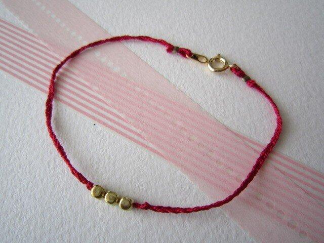 Silk yarn bracelet☆(赤)の画像1枚目