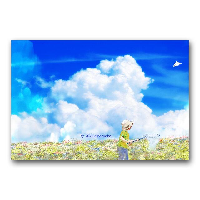 「風の翼で羽ばたきたくて」 ほっこり癒しのイラストポストカード2枚組 No.1137の画像1枚目