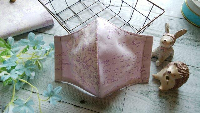 送料無料✴淡い紫地に繊細な白いお花のマスクです✴の画像1枚目