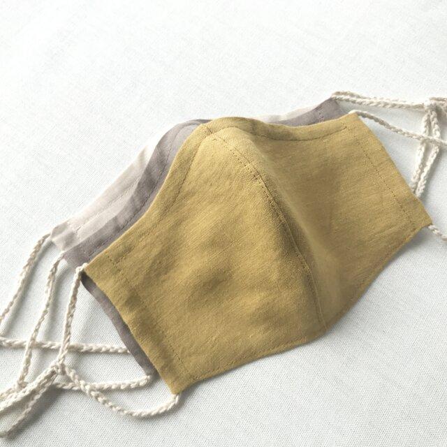 リネン立体マスク★マスタード★(ノーズワイヤーポケット、フィルターポケット付き) 大人Mサイズ 1枚の画像1枚目