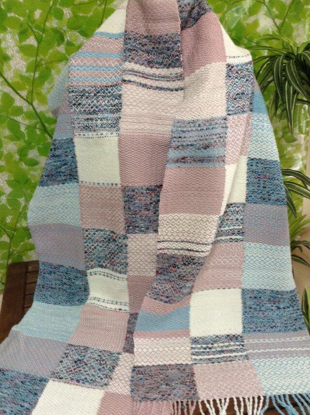 おしゃれなパッチワーク柄☆手織りストールの画像1枚目