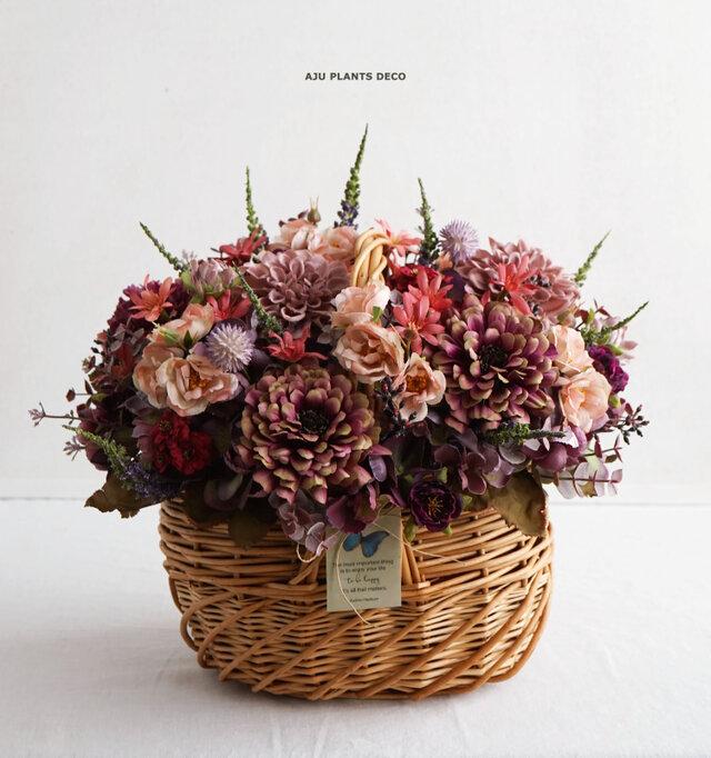 秋色バスケット(造花)の画像1枚目