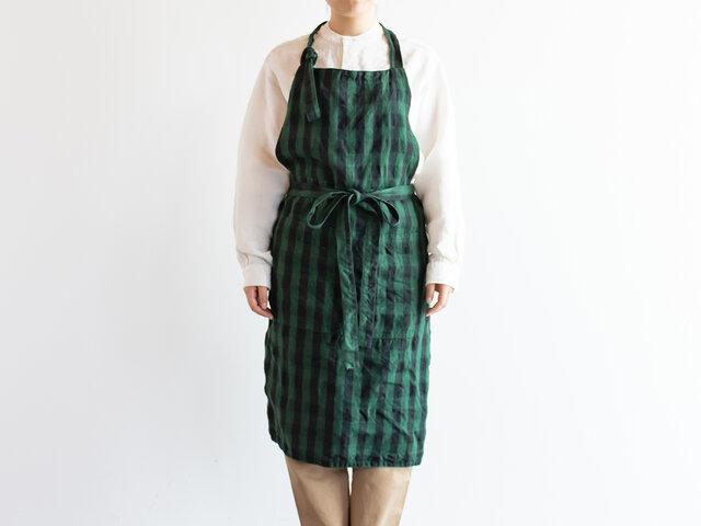 TE-002C [日本製品染め]リネン カフェエプロン(チェックグリーン)teintの画像1枚目