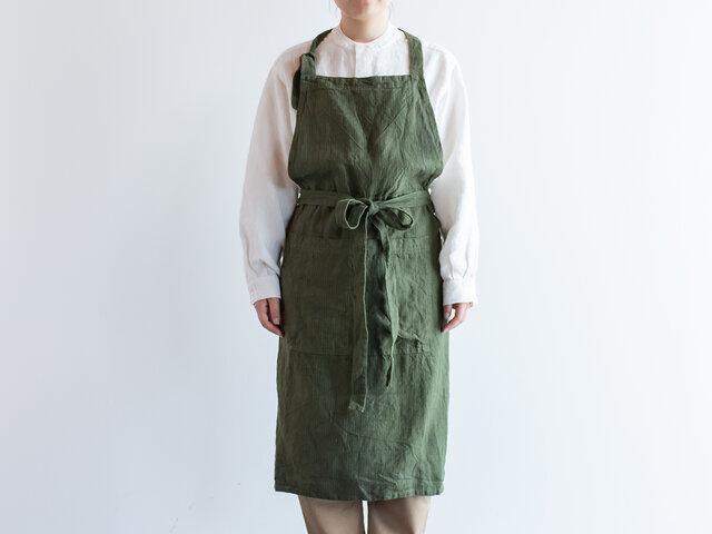TE-002S [日本製品染め]リネン カフェエプロン(ストライプオリーブ)teintの画像1枚目