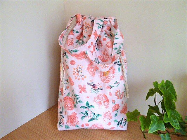 保温保冷シート付き巾着型エコバッグ(北欧花と小鳥)の画像1枚目