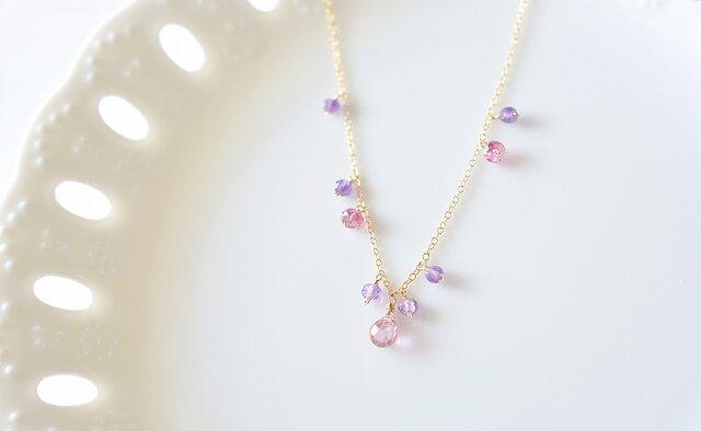 14kgf*ピンクトパーズ(ドロップカット)×ピンクトルマリン×ピンクアメジストのネックレスの画像1枚目