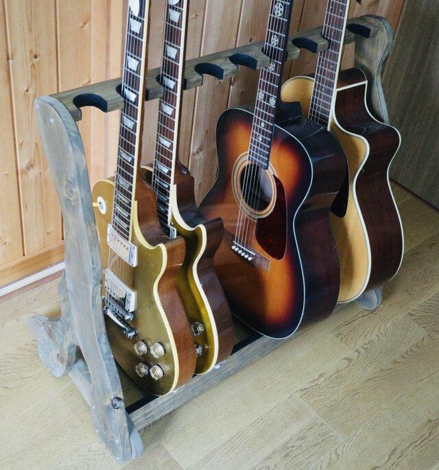 手作り木工 ギタースタンド (ウォールナット) 9本掛けの画像1枚目
