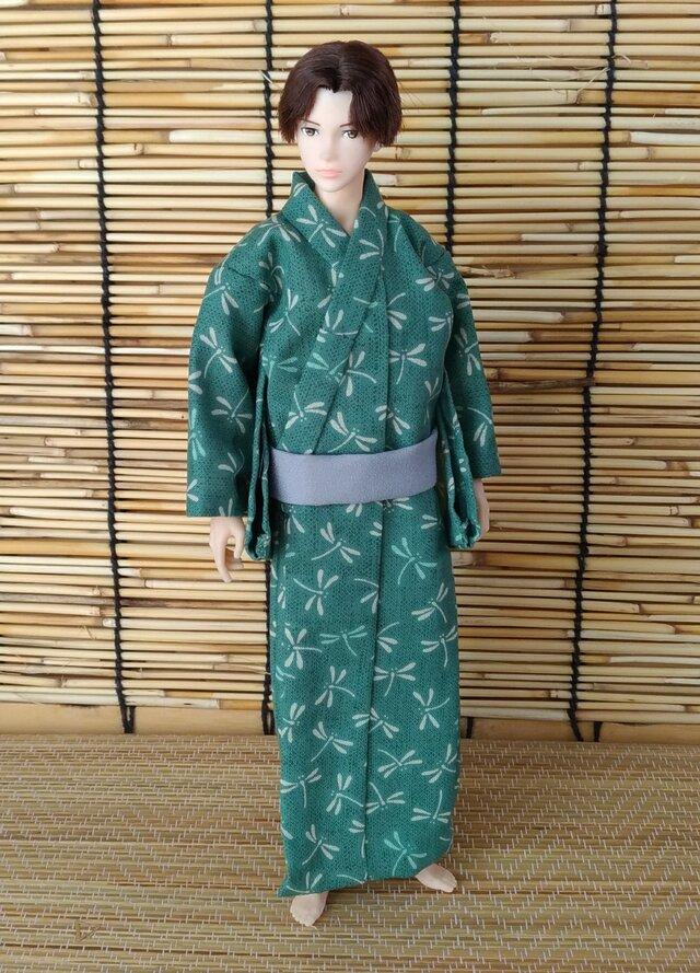 「蜻蛉の浴衣…若竹」28cm男子ドール着物の画像1枚目