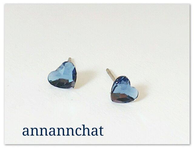 【スワロフスキー デニムブルー 青  ハートの ピアス】6㎜ 夏 青色 ブルー の画像1枚目