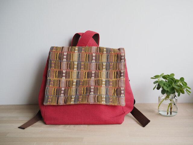 【sakaiazuki様専用受注制作】 茶系変わり織りとレンガ色の帯バッグ リュック型の画像1枚目
