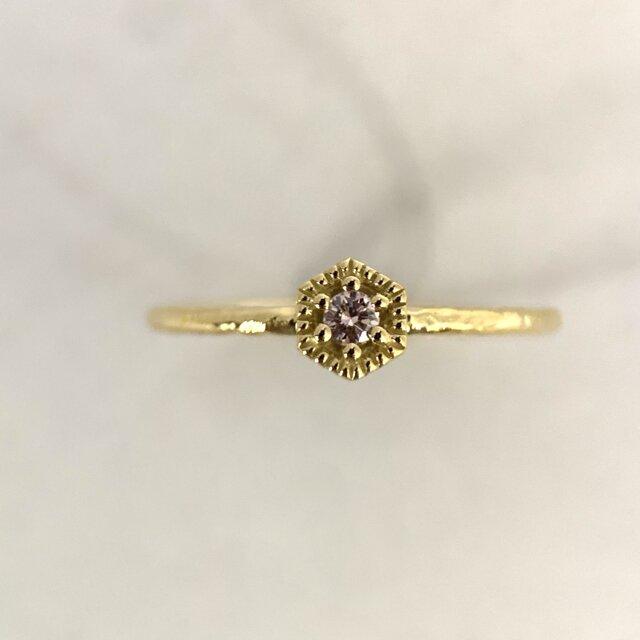 K18ゴールド 天然ピンクダイヤモンドリングの画像1枚目
