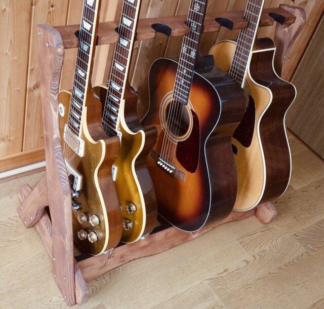手作り木工 ギタースタンド (チーク) 7本掛けの画像1枚目