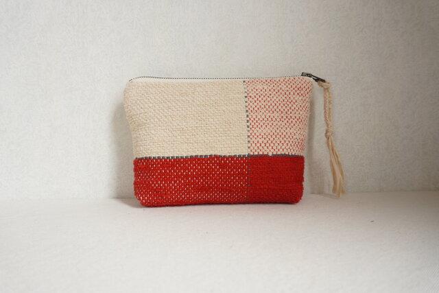 裂き織りのポーチ 赤×ミルクベージュの画像1枚目