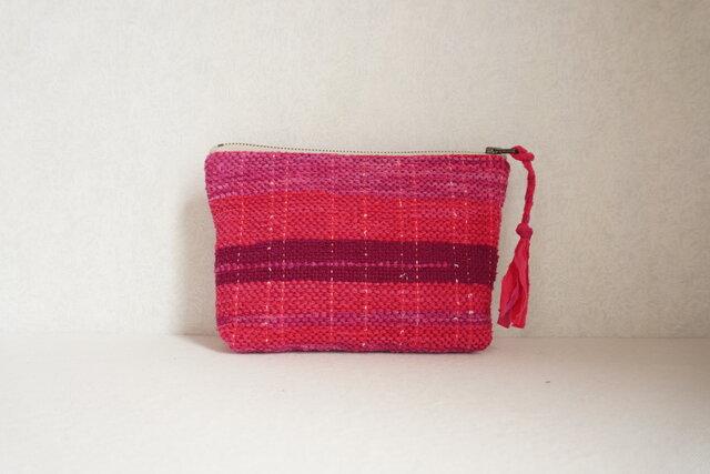 裂き織りのポーチ ピンク~紫の画像1枚目
