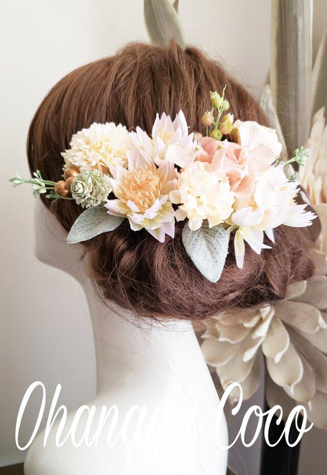 専用 再販 花funwari くすみピンクとアイボリー系の髪飾り14点Set No717の画像1枚目