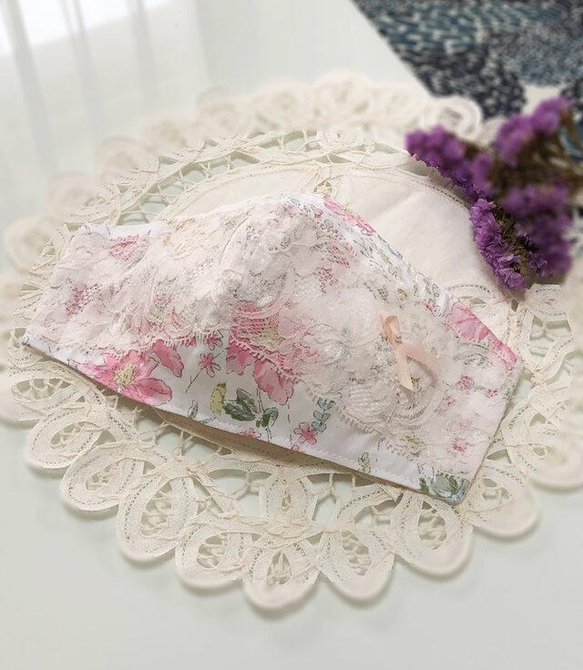 ♥♥小池さんマスクサイドダーツあり型紙使用♥ピンクの花柄・上品なレースマスク♥♥の画像1枚目