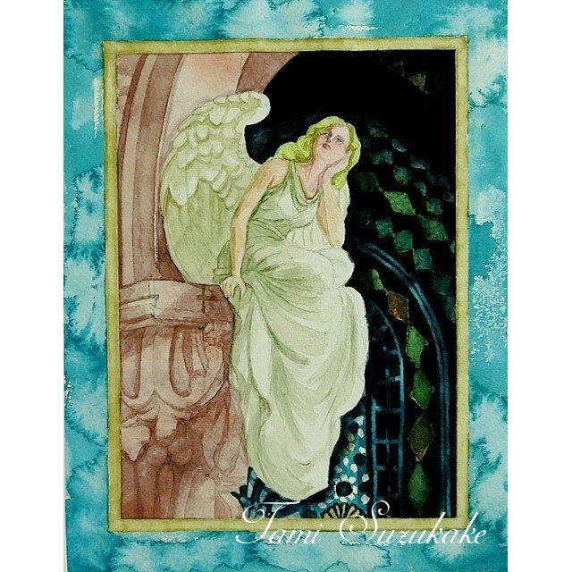水彩・原画「天使の休息」の画像1枚目