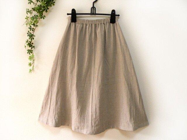 着丈が選べる綿麻ギャザースカート ポケット追加オプションの画像1枚目