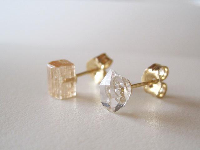 インペリアルトパーズ&ダイヤモンドクォーツの原石ピアス 14kgfの画像1枚目