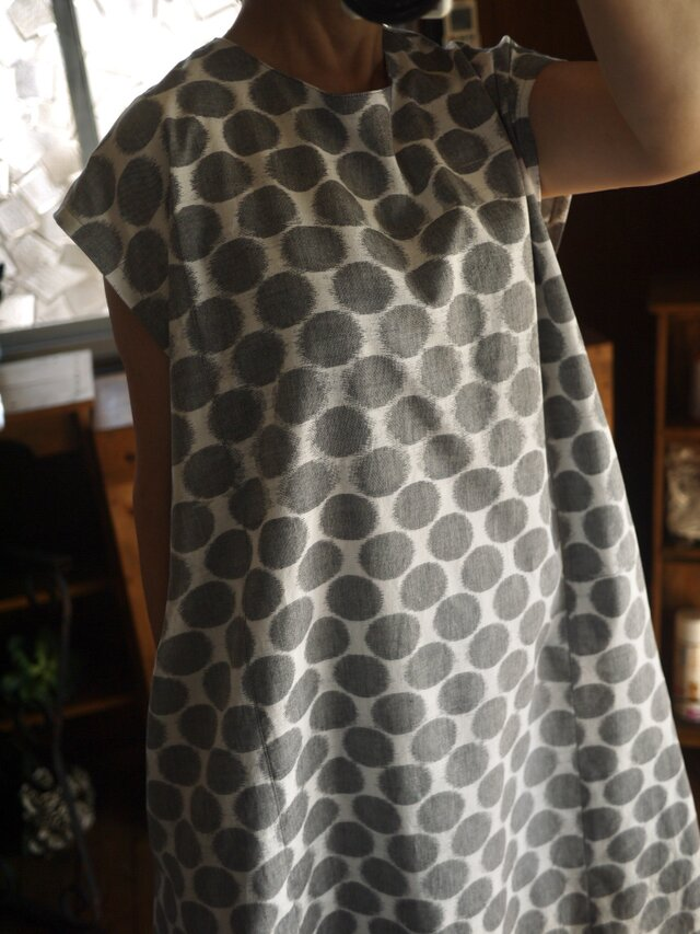 久留米絣反物水玉ワンピースの画像1枚目