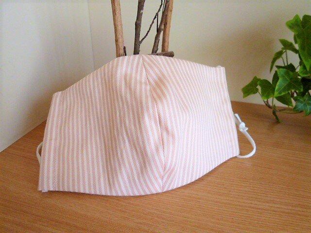 【受注制作】UVカット&接触冷感Wガーゼの夏用マスク(ピンクストライプ)セミワイドサイズの画像1枚目