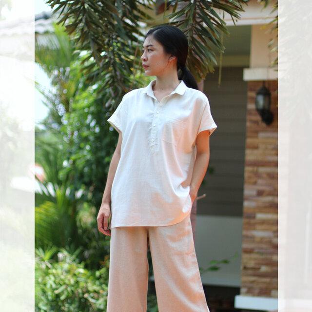 【ネット限定】 レーヨン & リネン シャツ 半袖 麻 ゆったりサイズ M L オフホワイト ユニセックス Tomoの服の画像1枚目