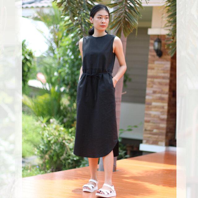 【ネット限定】 リネン&コットン 裾がカーブになったノースリーブ ドレス ワンピース 半袖 麻 ブラックの画像1枚目