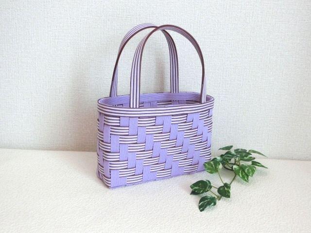 クラフトカゴ ミニバッグ 紫色&白&茶色 プレゼントにもの画像1枚目